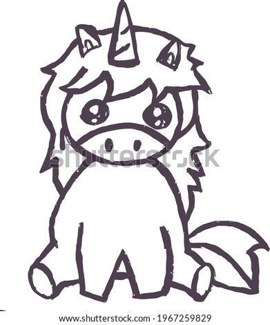cute cartoon sketchpony with