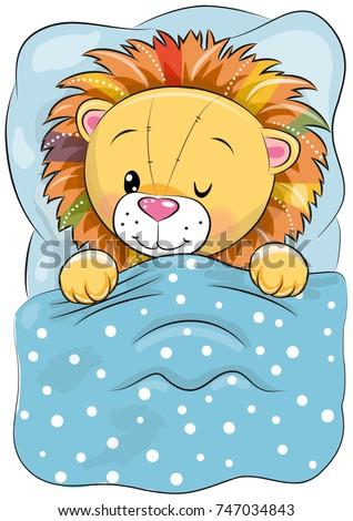 cute cartoon sleeping lion with