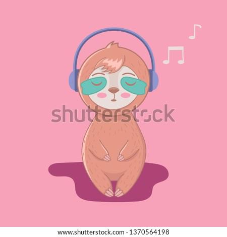 cute cartoon sloth listenung to