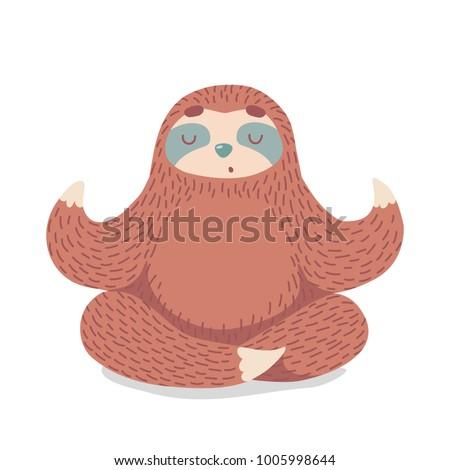cute cartoon sloth sitting in yoga pose. cartoon animal vector illustration.unique hand drawn vector illustration with sloth.