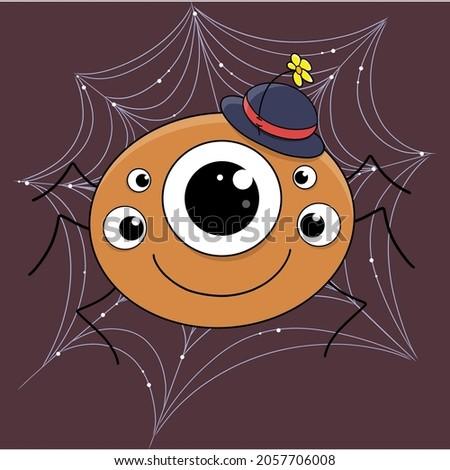 cute cartoon spider gentleman