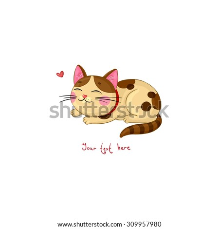 cute cartoon spotted cat on a