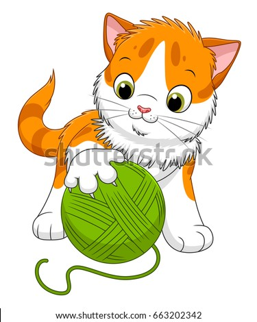 cute cartoon spotted kitten