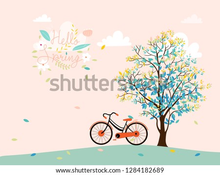 stock-vector-cute-cartoon-spring-landscape-with-tree-and-vintage-bike-with-copy-spcae-vector-spring-tree-with