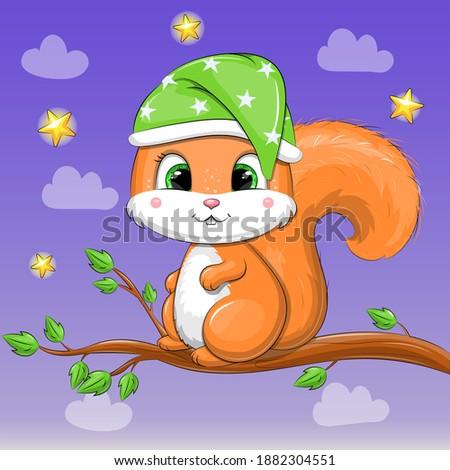 cute cartoon squirrel in night