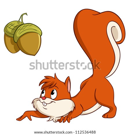 Cute cartoon squirrel sneak up to nuts. Vector illustration.
