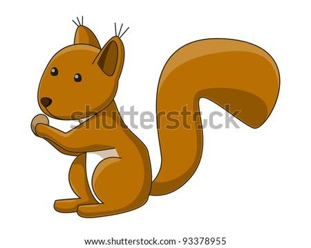 Cute cartoon squirrel with a nut