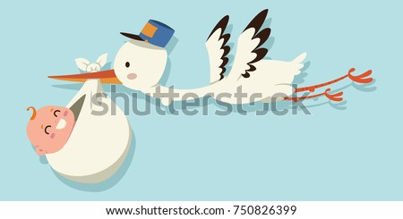 Cute cartoon stork and baby. Vector illustration of a flying bird carrying a newborn kid isolated on a blue background. Foto d'archivio ©