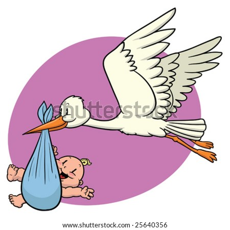 Cartoon Baby Picture on Cute Cartoon Stork Carrying A Newborn Baby  Stock Vector 25640356