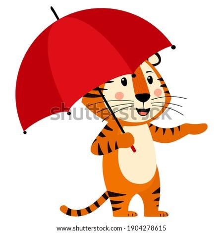 cute cartoon striped red tiger