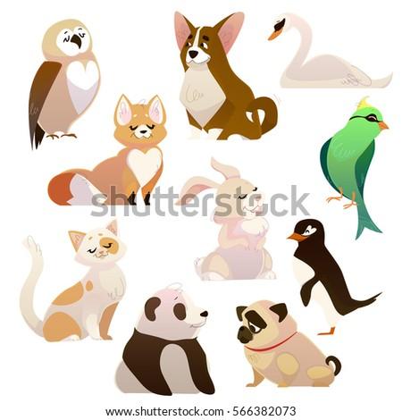 cute cartoon style 3d animals...