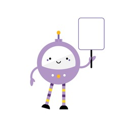 Cute cartoon style purple robot character, toy with long legs and buttons holding empty, blank sign, banner in hand. Vector icon, illustration.