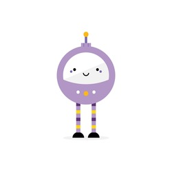 Cute cartoon style purple robot character, toy with long legs and buttons. Vector icon, illustration.