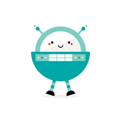 Cute cartoon style rounded spaceman robot character, toy with antennas and buttons. Vector icon, illustration.