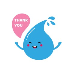 Cute cartoon style smiling blue water drop character saying thank you, showing appreciation.