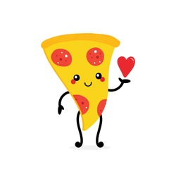 Cute cartoon style smiling pizza character holding in hand red heart. Love and appreciation concept.