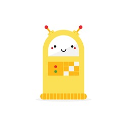 Cute cartoon style yellow robot character, toy with dashboard and buttons. Vector icon, illustration.