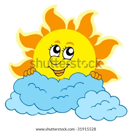 cartoon sun rays. cartoon Sun with clouds