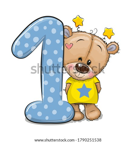 Cute Cartoon Teddy Bear and number one isolated on a white background Stock photo ©