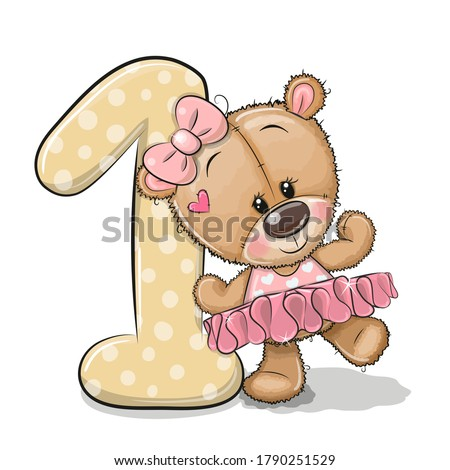 Cute Cartoon Teddy Bear Girl and number one isolated on a white background