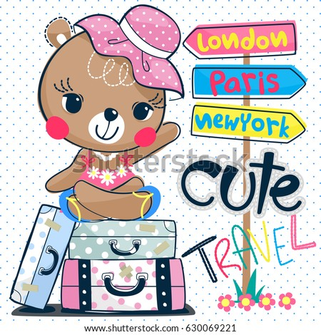 Cute cartoon teddy bear girl sitting on suitcase with road sign on blue polka dot background illustration vector.