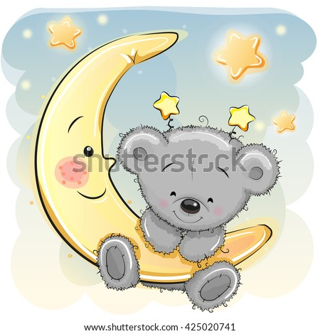 cute cartoon teddy bear on the