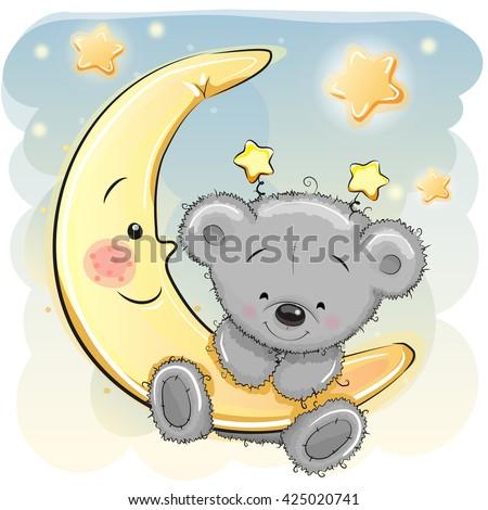 cute cartoon teddy bear on the