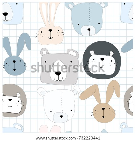 Cute cartoon teddy bear toddler,lion and rabbit bunny character smile and satisfied,happy seamless pattern by hand draw doodle comic style,wildlife illustration set vector design