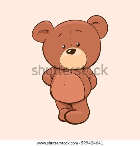 Cute cartoon Teddy bear, vector illustration