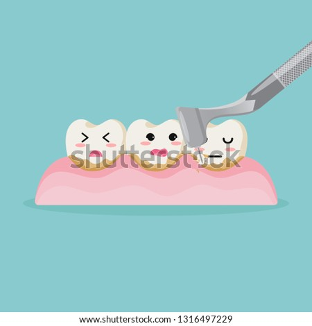 Cute cartoon teeth character cleaning.dental calculus is the calcified plaque, or tartar, Dental care concept, illustration isolated on blue background. - Vector