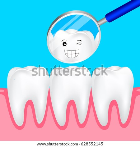 Cute cartoon teeth smile to you in the mirror. Dental care concept, illustration.