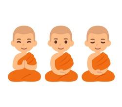 Cute cartoon Thai boys as Buddhist monks sitting in meditation. Child novice apprentice in Southeast Asia Theravada buddhism. Vector illustration set.