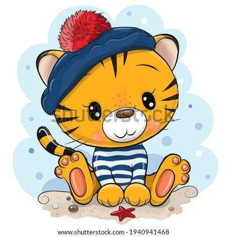 Cute cartoon tiger in sailor costume on the beach