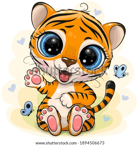 Cute Cartoon Tiger on a yellow background