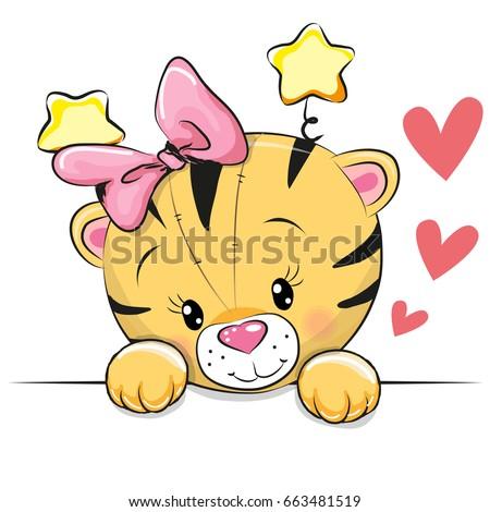 cute cartoon tiger with hearts