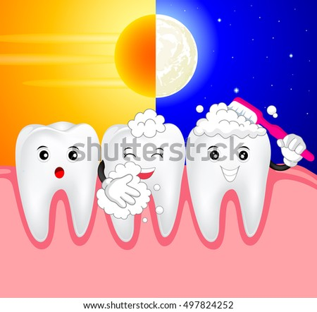 cute cartoon tooth brush day and night, great for health dental care concept. Illustration