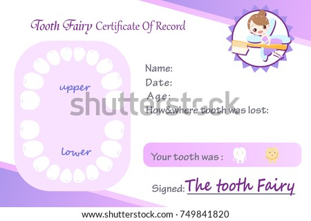 cute cartoon tooth fairy certificated of record