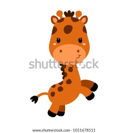 Cute cartoon trendy design little giraffe. African animal wildlife vector illustration.