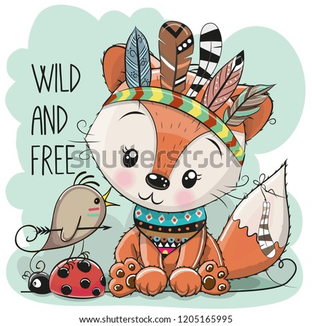 Cute Cartoon tribal Fox and bird with feathers