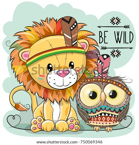 cute cartoon tribal lion and