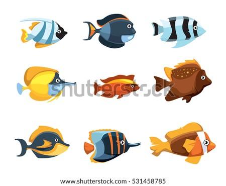 Shutterstock Cute cartoon tropical exotic freshwater aquarium fishes vector set