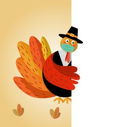 Cute cartoon turkey wearing face mask behind white greeting card. Flat vector illustration. New normal Thanksgiving concept.