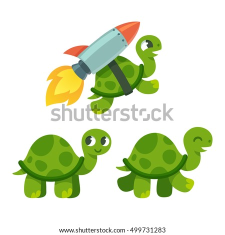 cute cartoon turtle set