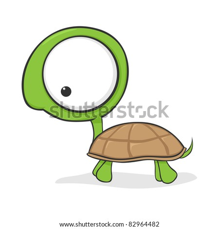cute cartoon turtle with huge eyes stock vector