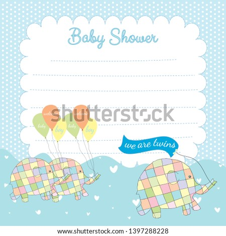 Giraffe Elephant and Tortoise Birth of Twin Boys Card Picture Inside