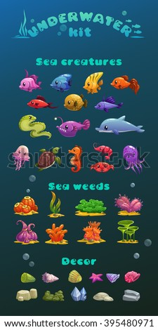 cute cartoon underwater icons