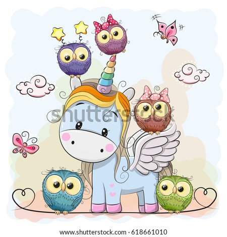 cute cartoon unicorn five owls