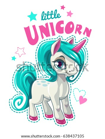 Cute cartoon unicorn patch. Funny girlish vector illustration for t shirt print design.