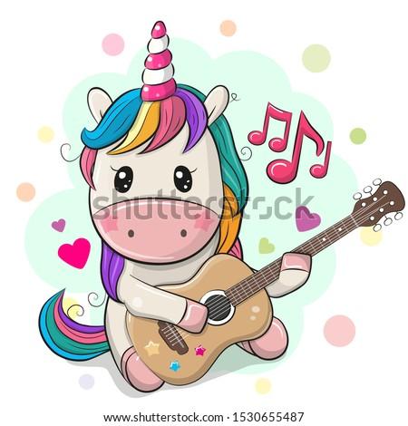 cute cartoon unicorn with