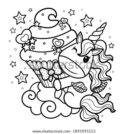 Cute cartoon unicorn with cream cupcake. Black and white childrens illustration. Doodle style. For the design of coloring books, prints, posters, tattoos, stickers, badges. Vector